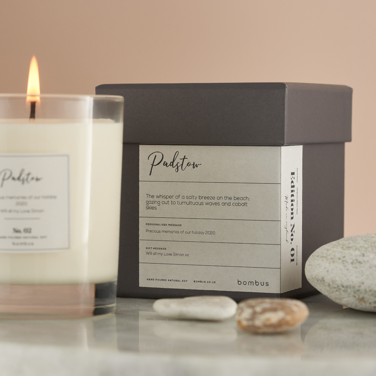 Luxury Soy Candle with Personalised Label and Box