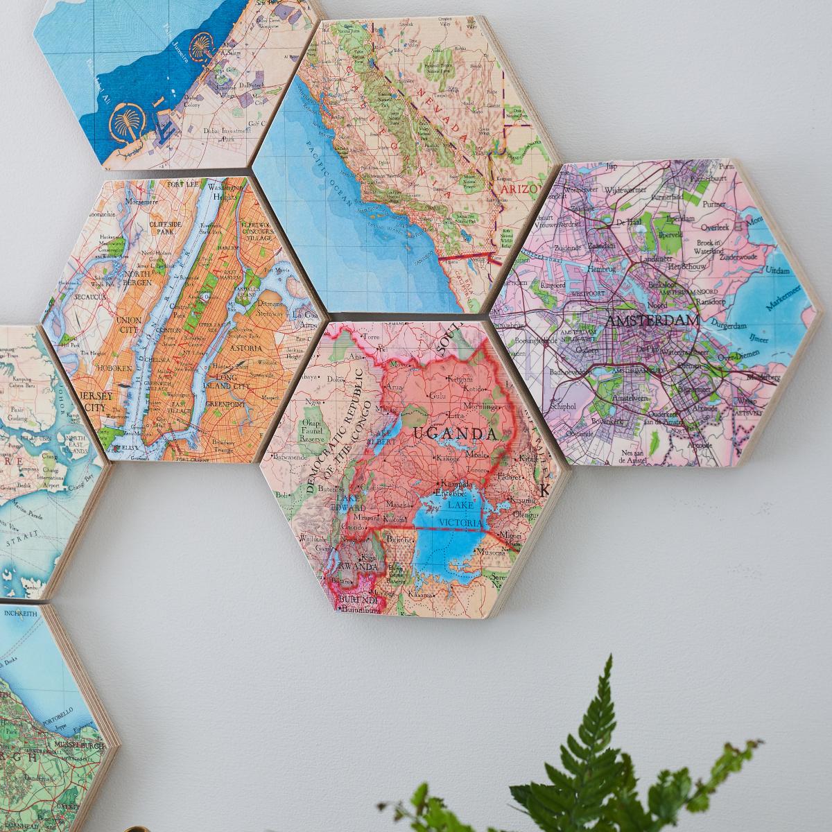 Map Hexagon Wall Art