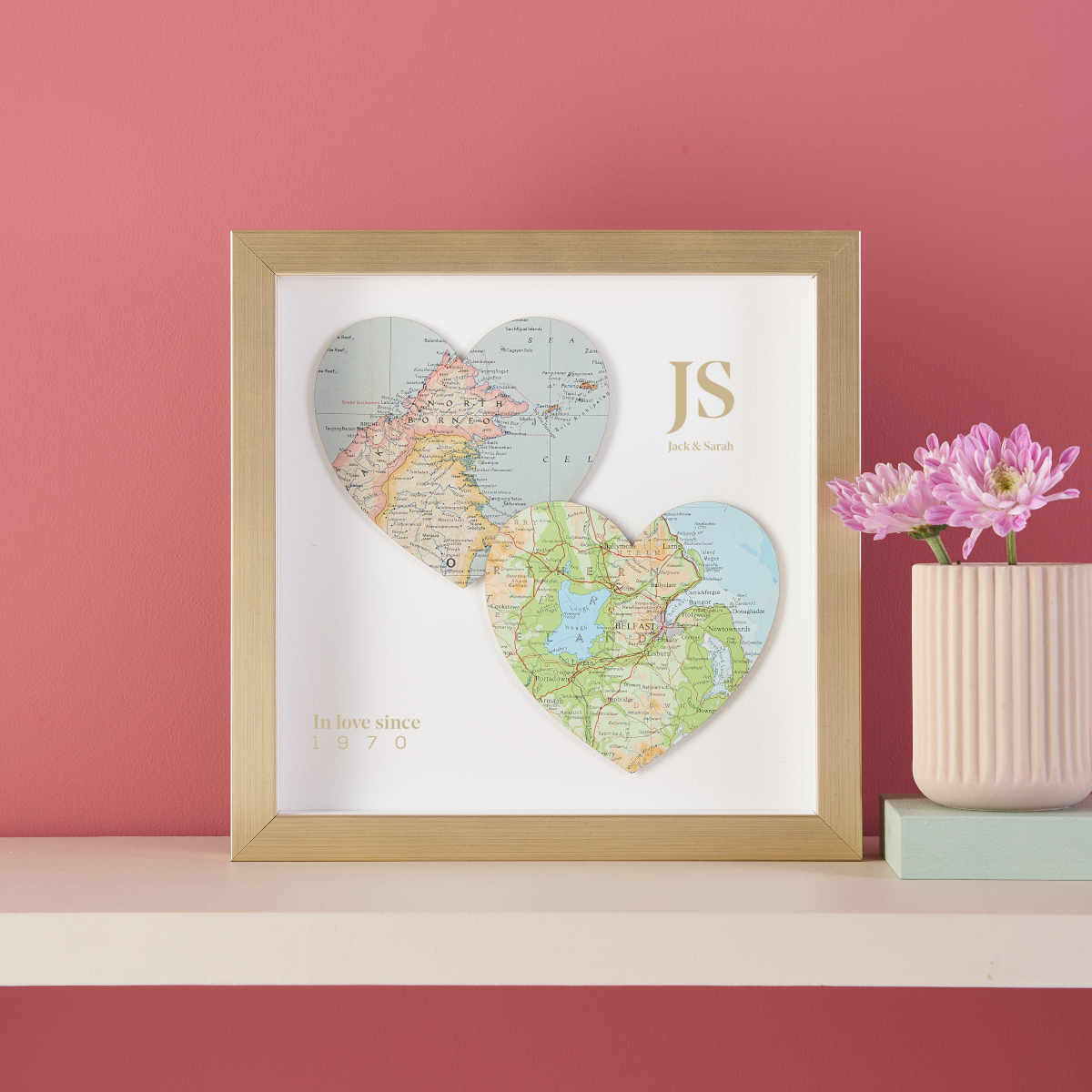 Duo Map Heart Anniversary Gifts Golden Frame