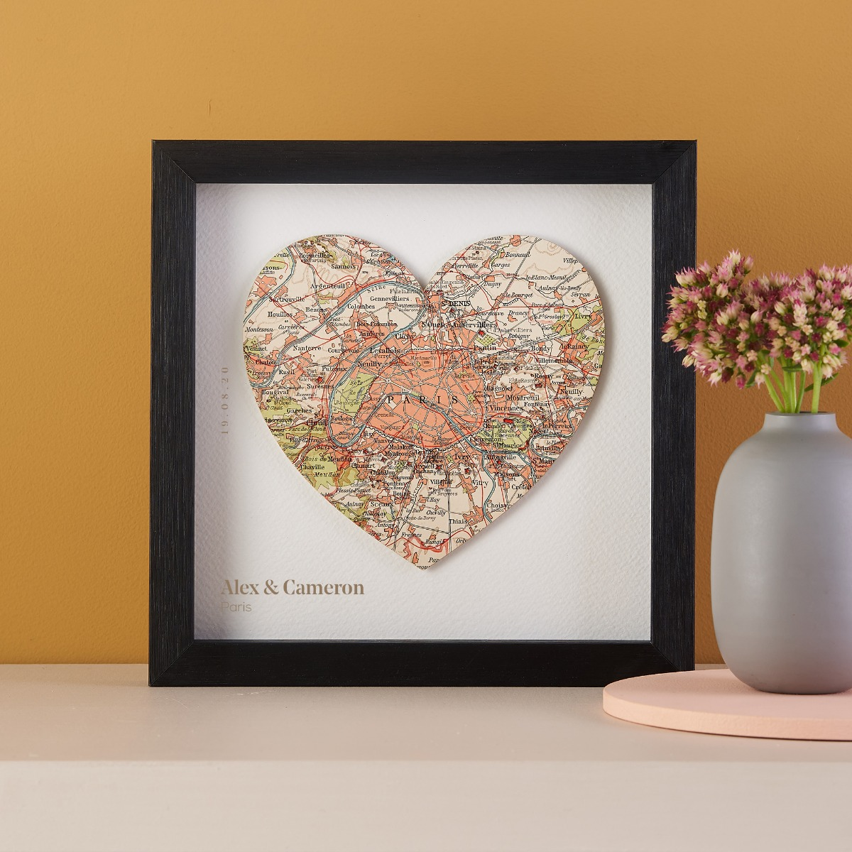 Map Location Heart Print Anniversary Gifts