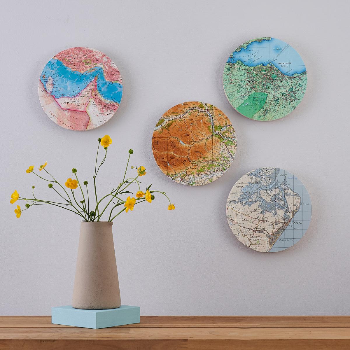 Map Wall Art Circle New Home Gifts