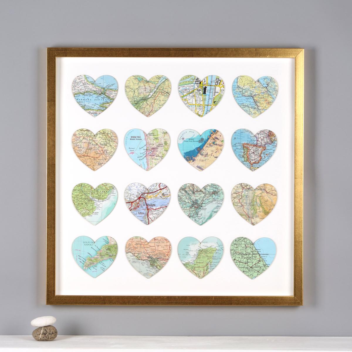 Sixteen Map Heart Golden Wedding Anniversary Gifts