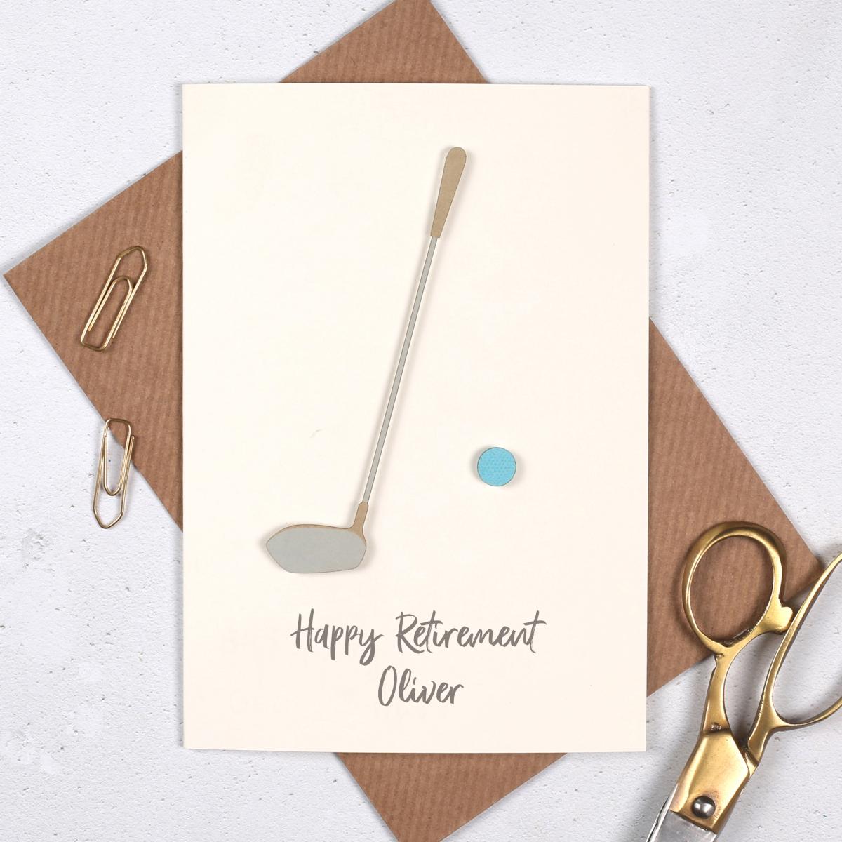 Handmade golf card, gift for golfers