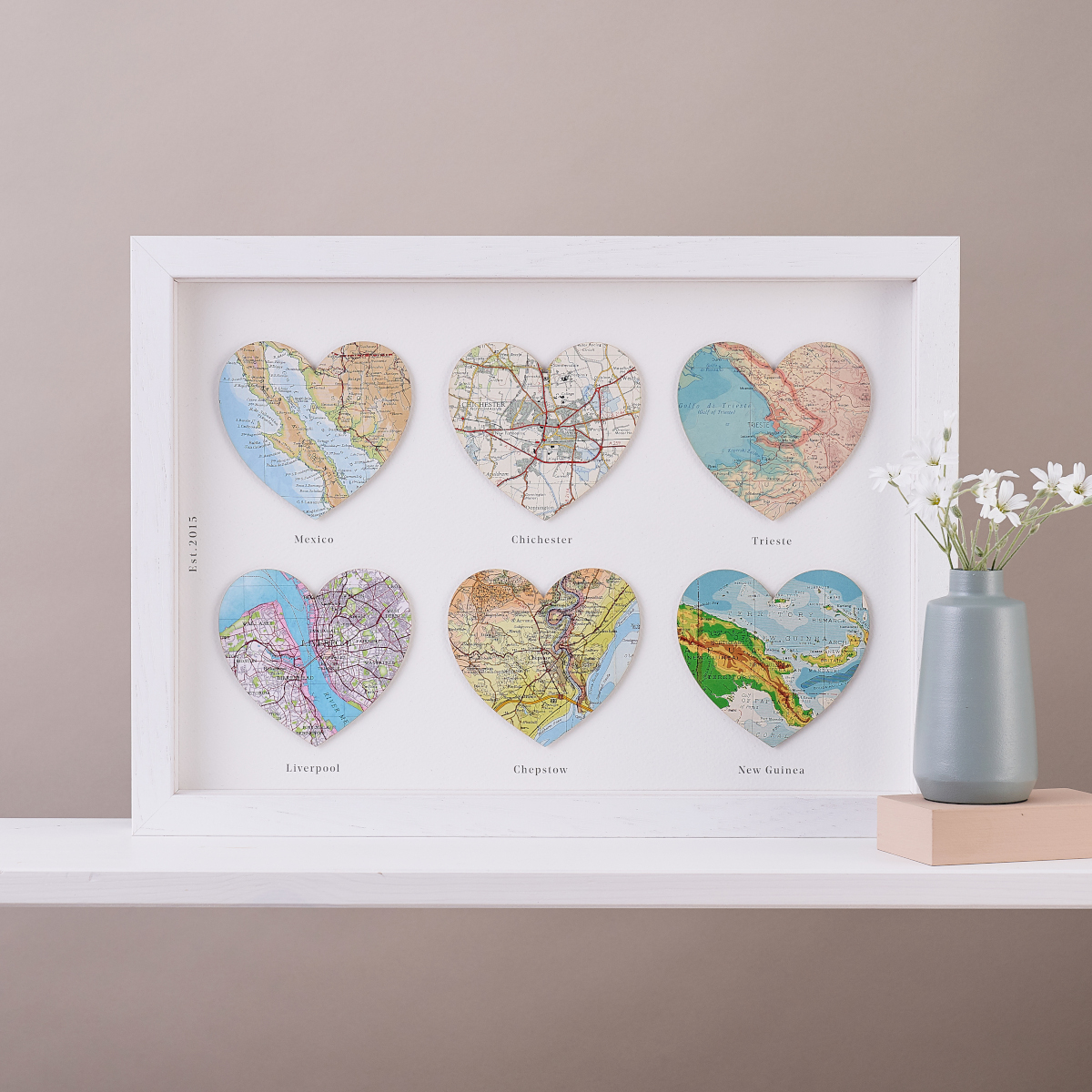 Map Location Six Heart Gift for Weddings