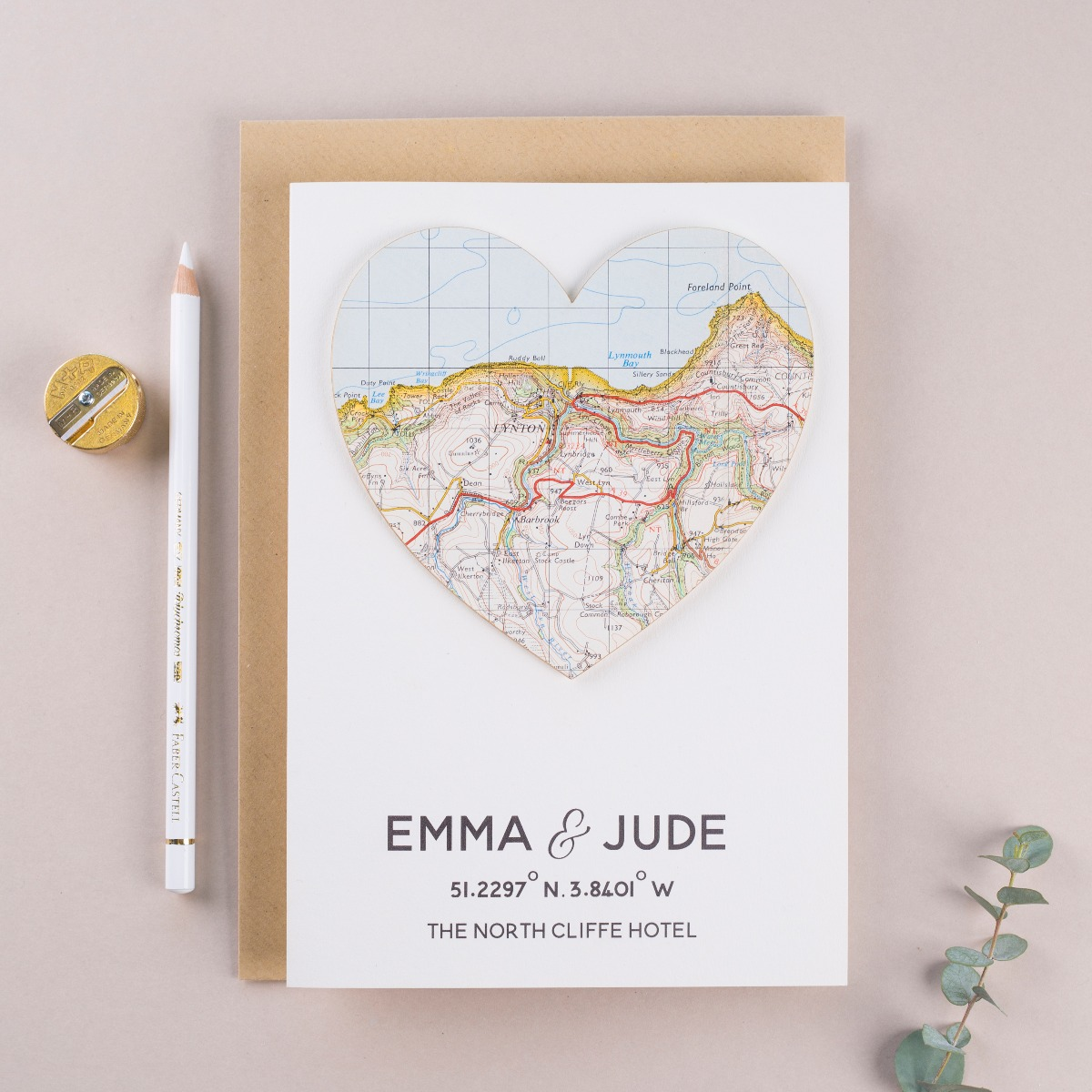 Amber loves to find maps for the heart cards.