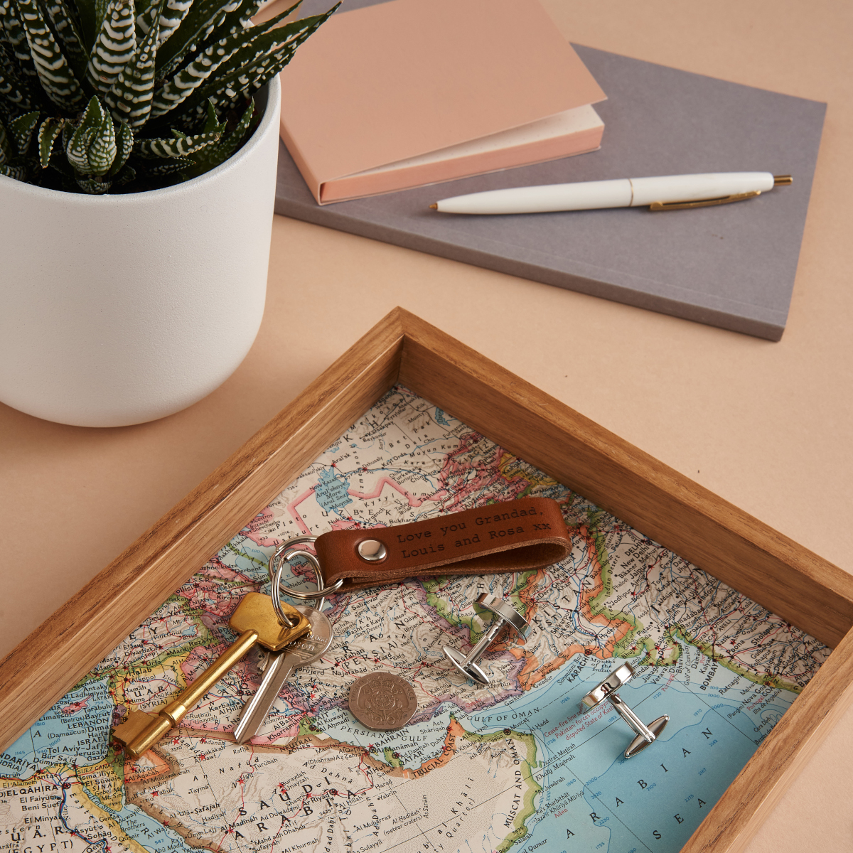 A map desk tidy - a great gift for someone working from home